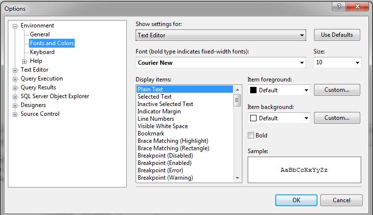Changing the font in SQL Server Management Studio (SSMS